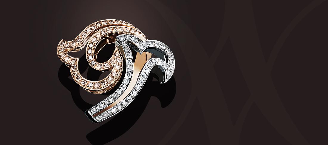 Chemin du coeur Bague OR OB pavage Diamants