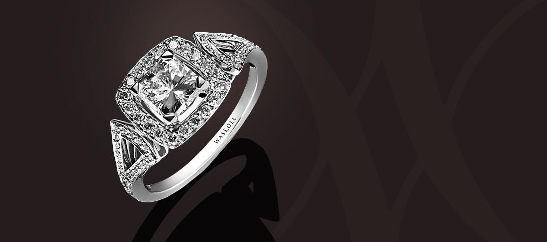 Favori Bague or blanc diamant Princesse pavage diamants | Waskoll  QR43
