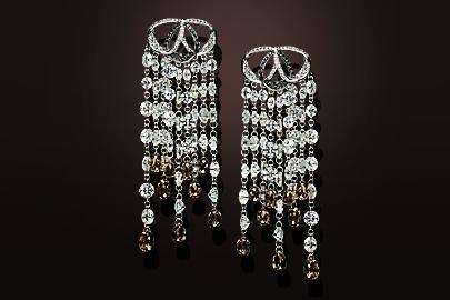 boucles d'oreilles diamants ronds et briolettes