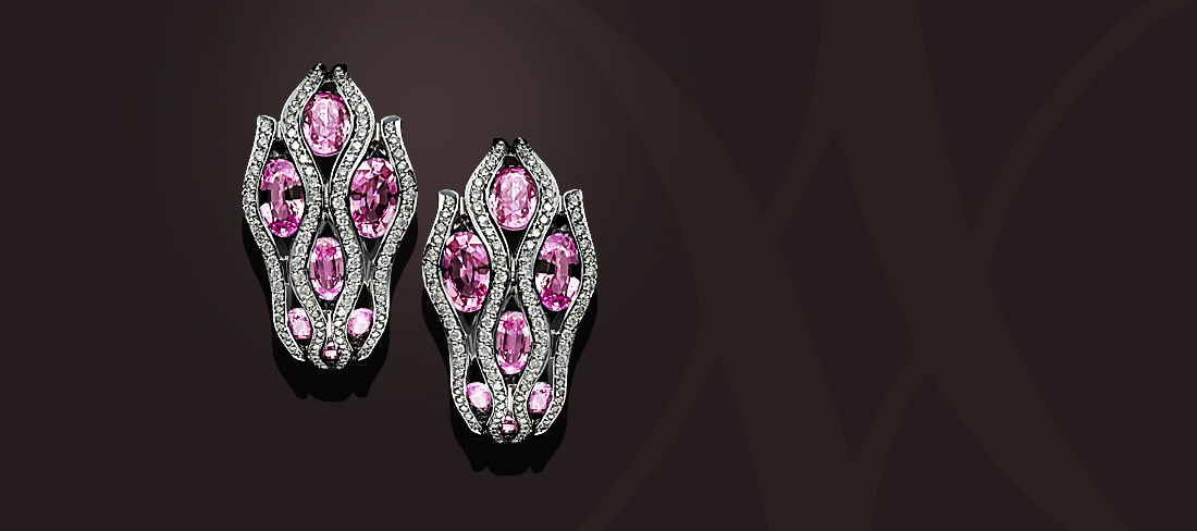 Flamme BO Saphirs roses diamants