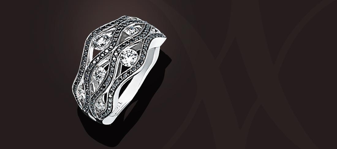 Flamme Bague OB diamants pavage diamants noirs GD