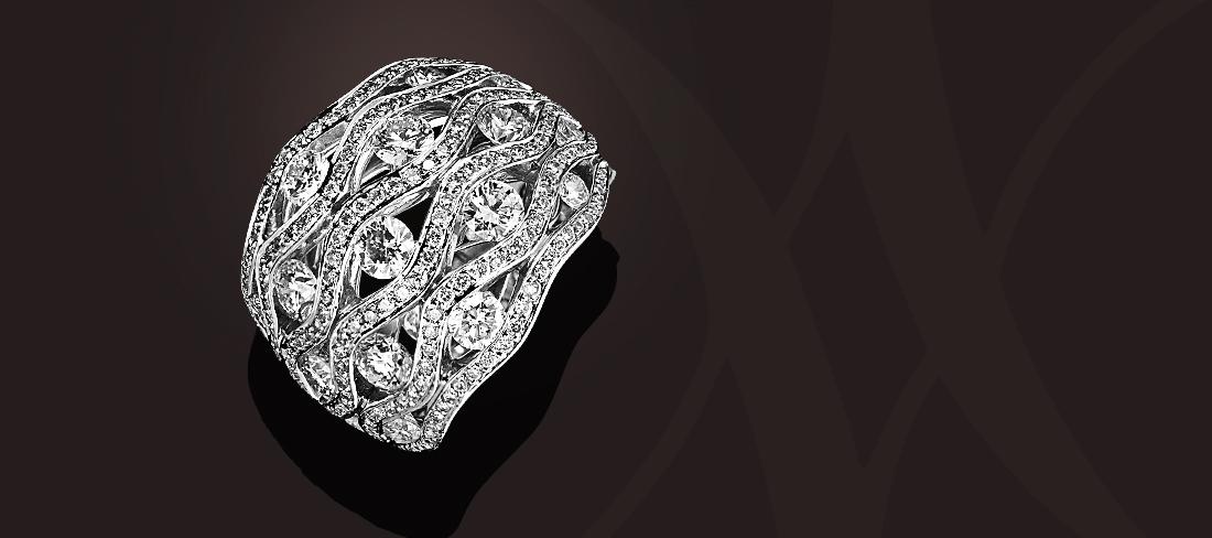 Flamme Bague OB pavage diamants