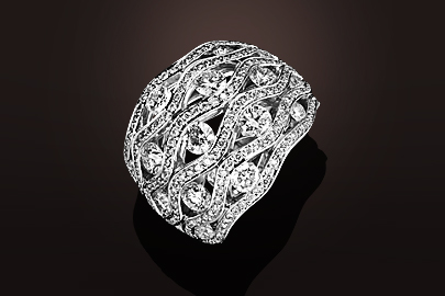 Flamme Bague OB pavage diamants