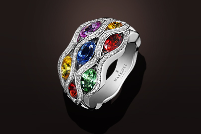 Flamme Bague OB saphirs multicolores