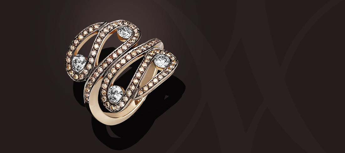 Parfums du Monde Bague-OR Diamants bruns
