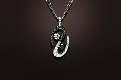Parfums du Monde Pendentif-OB-Diamants-noirs-blcs