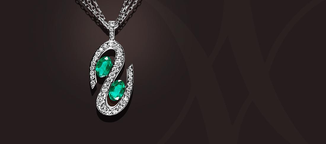 Parfums du Monde Pendentif OB Emeraudes Diamants