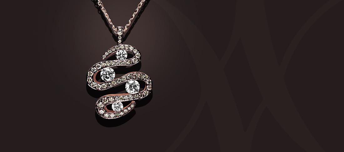 Parfums du Monde Pendentif OR Diamants bruns GD