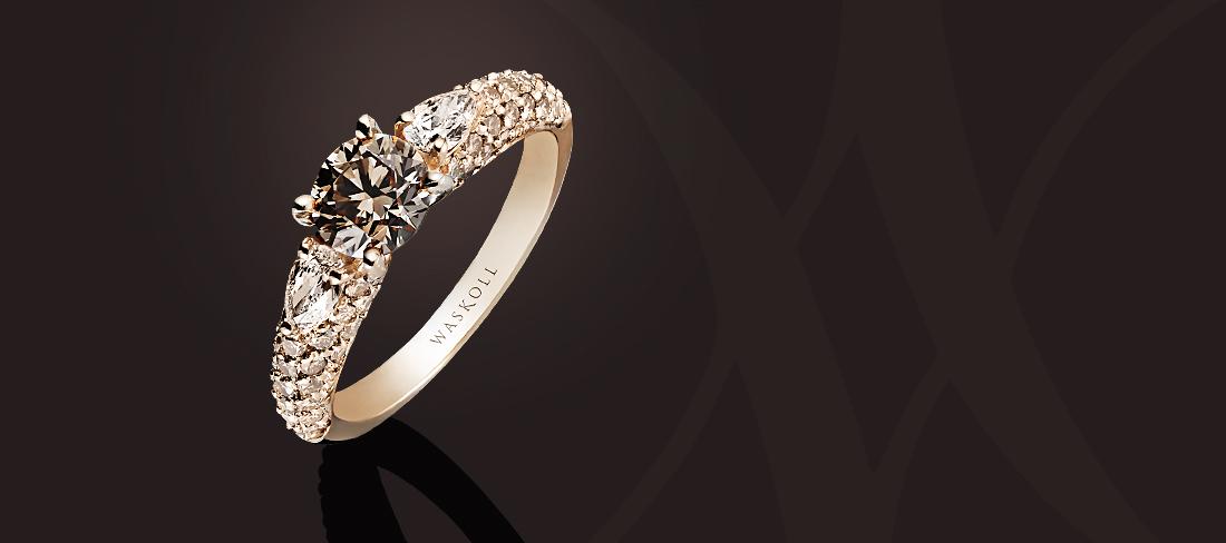 Promesse Bague OR Diamants bruns