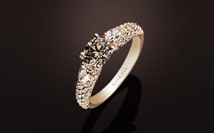 diamant brun bague or blanc