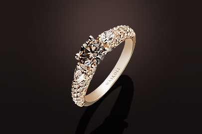 Promesse Bague OR Diamants bruns