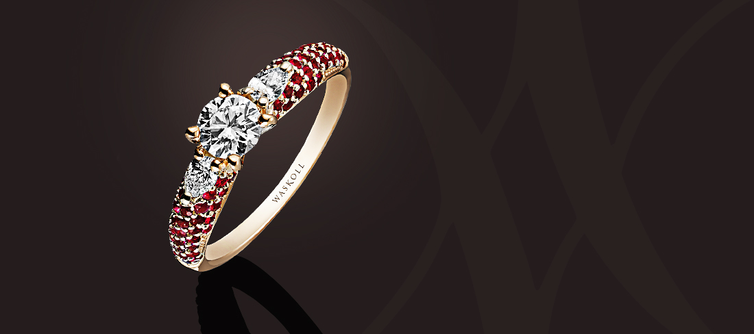 Promesse Bague OR Diamants Rubis