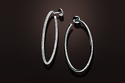 boucles d'oreilles creoles or blanc diamants