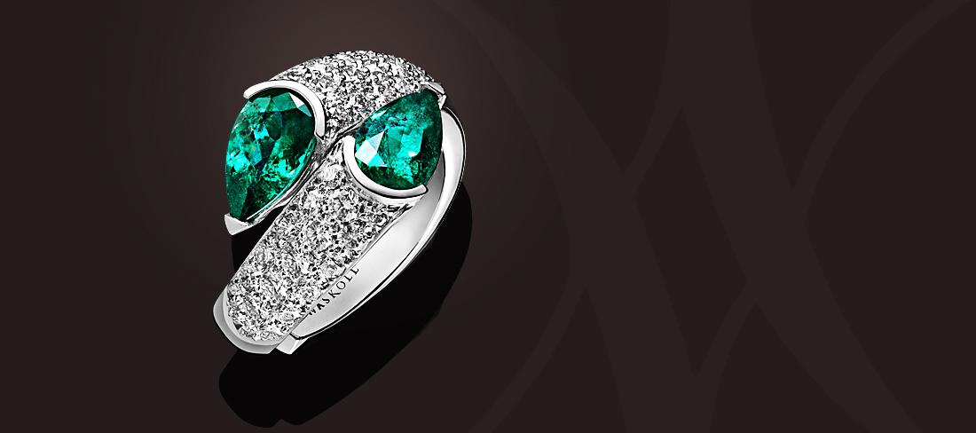 Union Bague OB Emeraudes pavage diamants