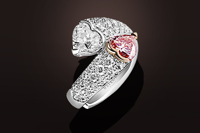 bague or blanc diamant coeur rose et blanc