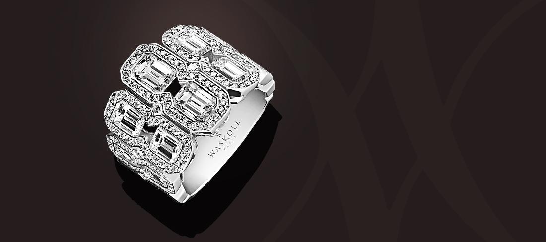 New Wave Bague diamants taille émeraude