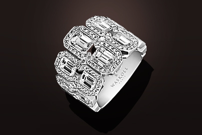 Bague diamants taille émeraude