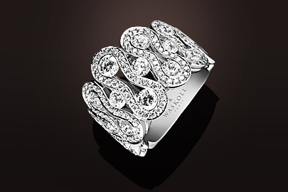 Wave Bague OB pavage diamants