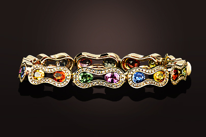 Wave Bracelet OJ Saphirs multicolores diamants