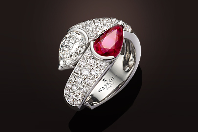 Bague 688 or blanc Rubis diamants