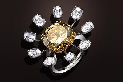 Bague 992 or blanc et or jaune diamant jaune