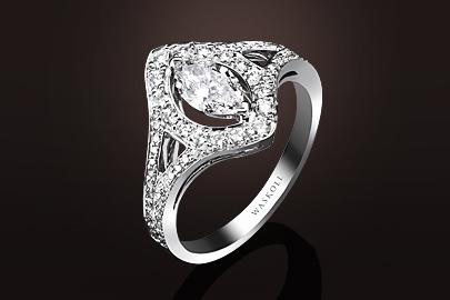 Bague Dentelle or blanc diamant Marquise