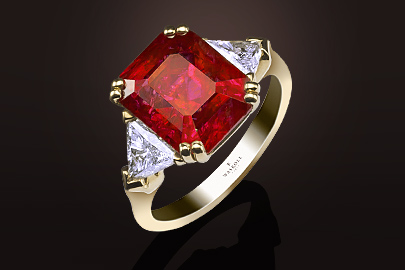 Bague Exception or jaune rubis/diamants