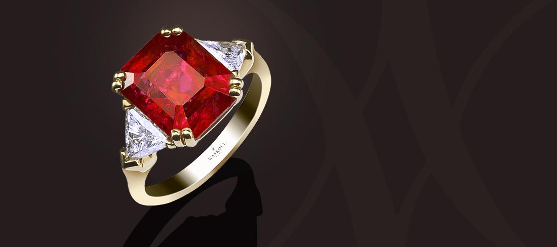 Bague Exception or jaune rubis/diamants