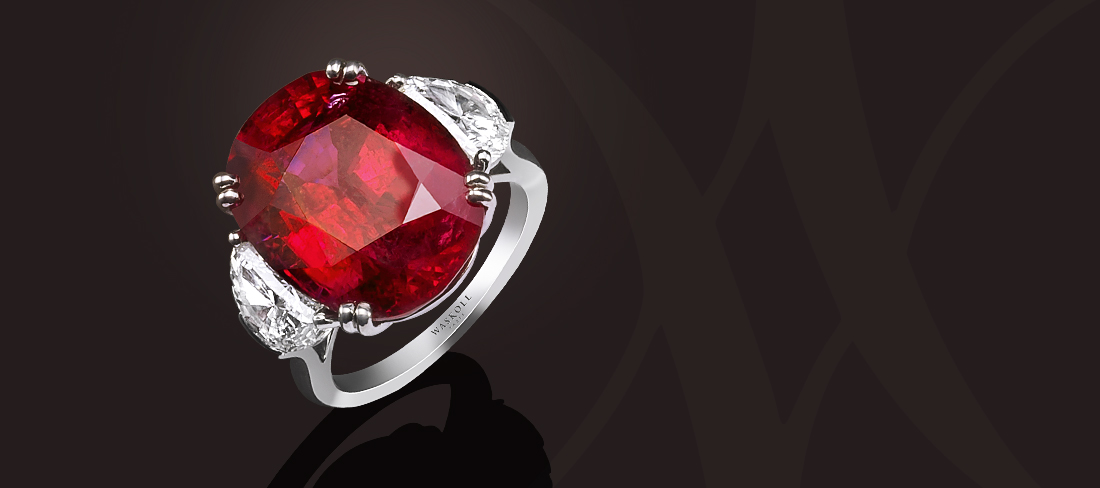 Bague or blanc Exception Rubis rouge intense