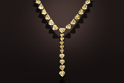 Collier or jaune diamants taille coeur