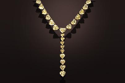 Yellow diamonds gold necklace