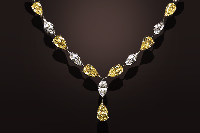 Collier or jaune et platine diamants jaunes et blancs