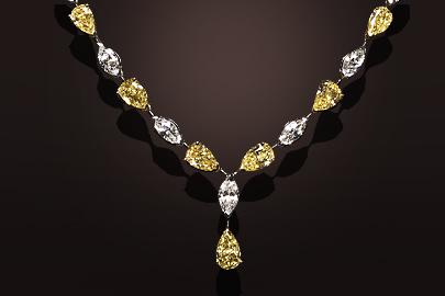 Collier or jaune et platine diamants jaunes et blancs