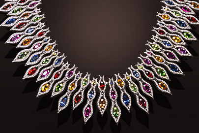 Collier Flamme or blanc saphirs multicolores