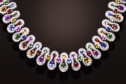 Collier or blanc saphirs multicolores