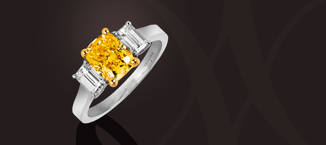 Bague diamant jaune Vivid Yellow