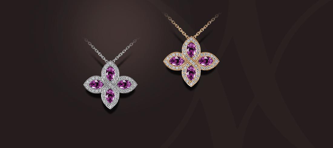 pendentif saphirs rose diamants