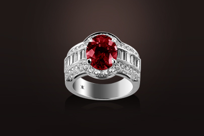bague or blanc rubis diamant