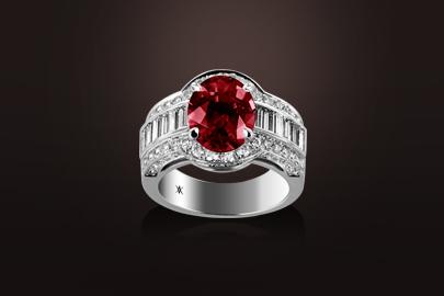 bague or blanc rubis diamant