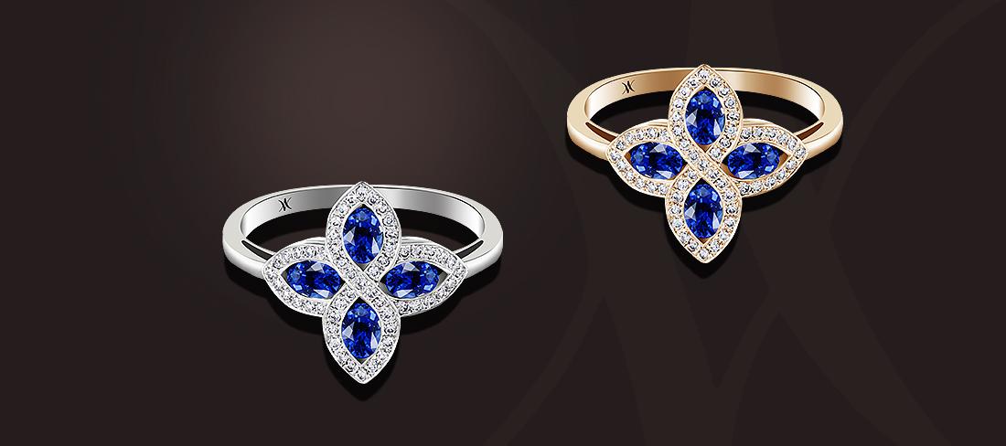 bague saphirs diamants