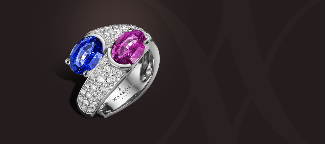 bague saphirs rose bleu et diamants