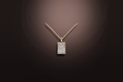 pink gold diamond pendant