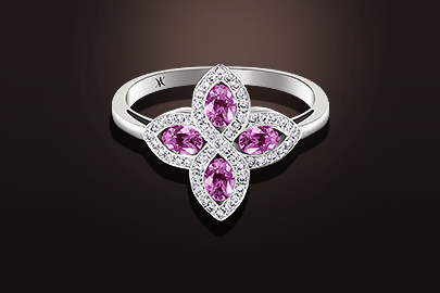 bague saphirs rose diamants