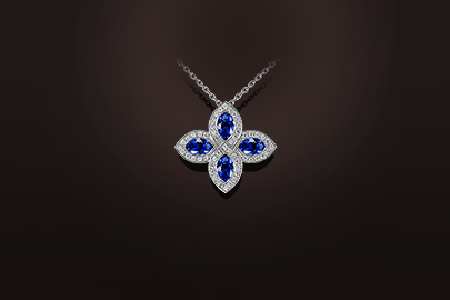pendentif saphirs diamants