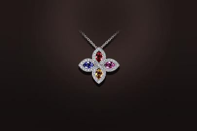 pendentif saphir multicolore diamant