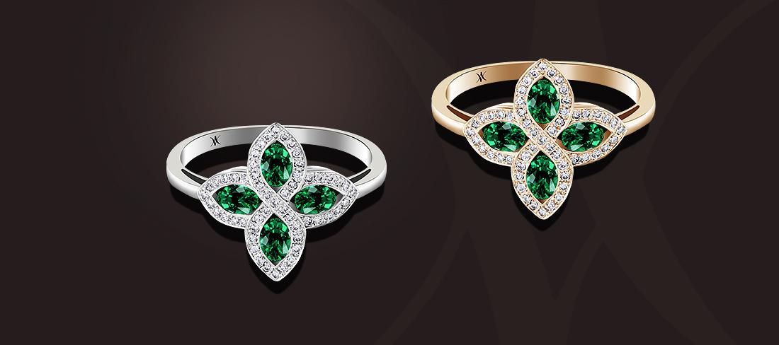 bague émeraudes diamants