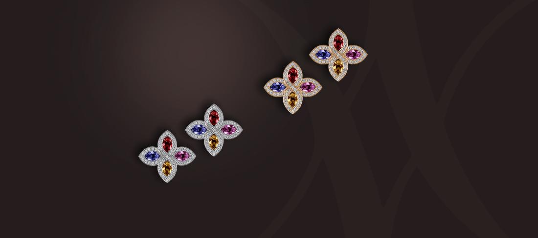 boucles d'oreilles saphirs multicolores