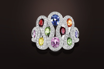 bague or blanc saphirs multicolores