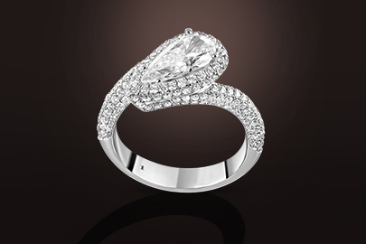 bague or blanc diamant poire