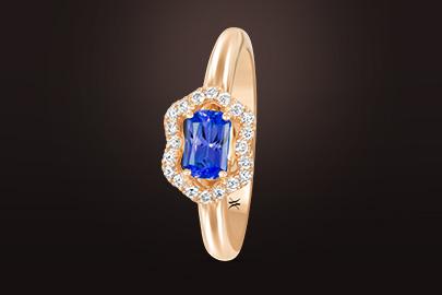 fleurettes bague or rose saphir bleu diamants